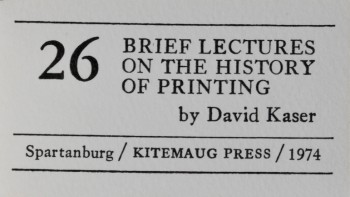 Image for 26 Brief Lectures on the History of Printing