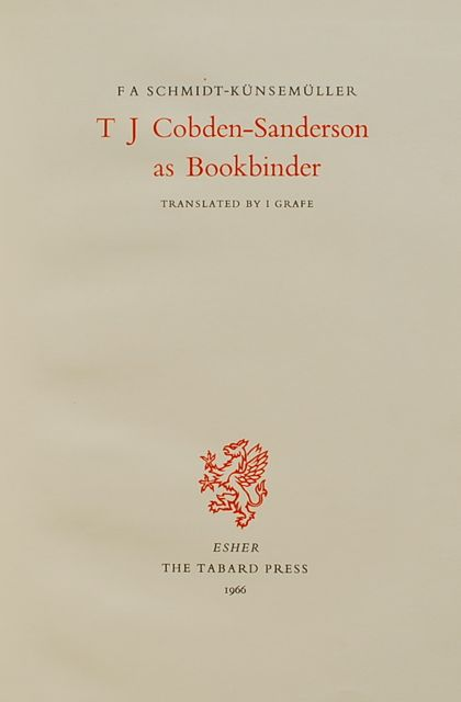 Image for T. J. Cobden-Sanderson as Bookbinder