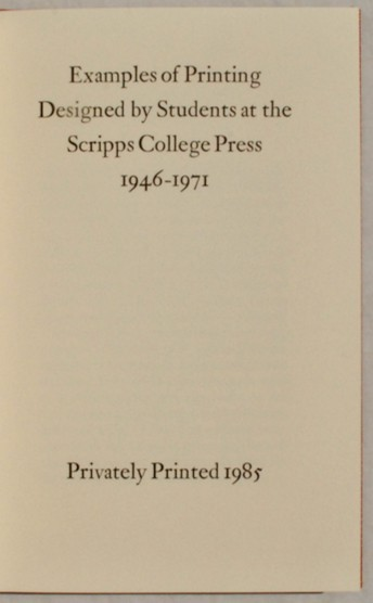 Image for Examples of Printing Designed by Students at the Scripps College Press, 1946-1971