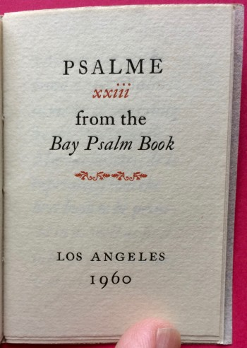 Image for Psalme XXIII from the Bay Psalm Book
