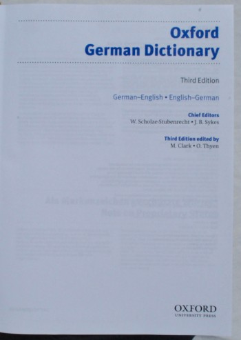 Image for Oxford German Dictionary.  Third Edition.