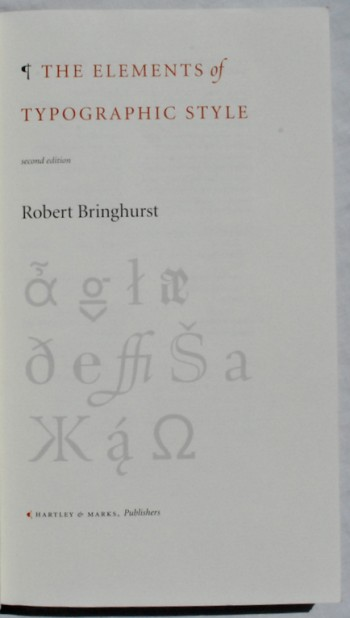 Image for The Elements of Typographic Style