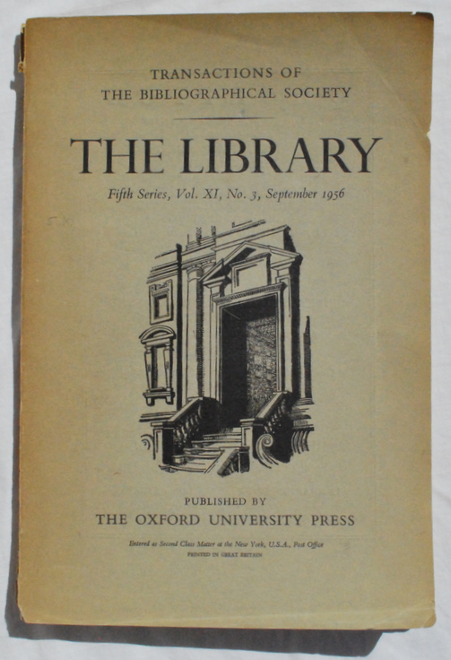 "Image for ""The Types of Christopher Plantin.""  In: The Library: Transactions of the Bibliographical Society, Fifth Series, Vol. XI, No. 3, September 1956."