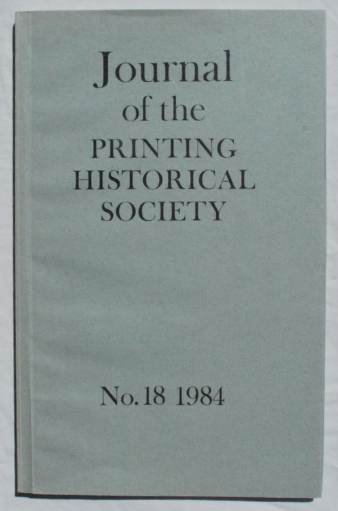 Image for Journal of the Printing Historical Society, No. 18, 1984.