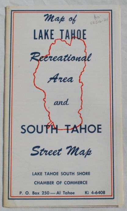 Image for Map of Lake Tahoe Recreational Area and South Tahoe Street Map.