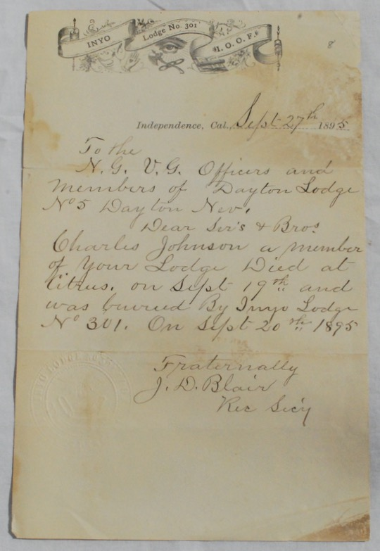Image for Manuscript Letter, Signed on Inyo County Masonic Lodge 301 Letterhead