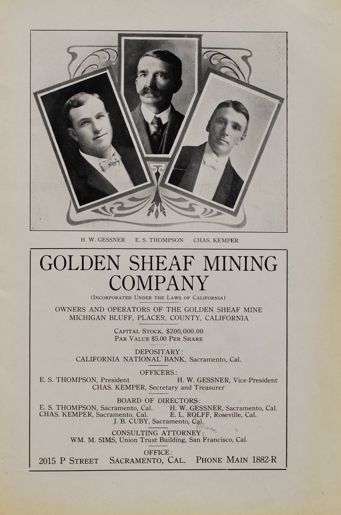 Image for Golden Sheaf Mining Company.