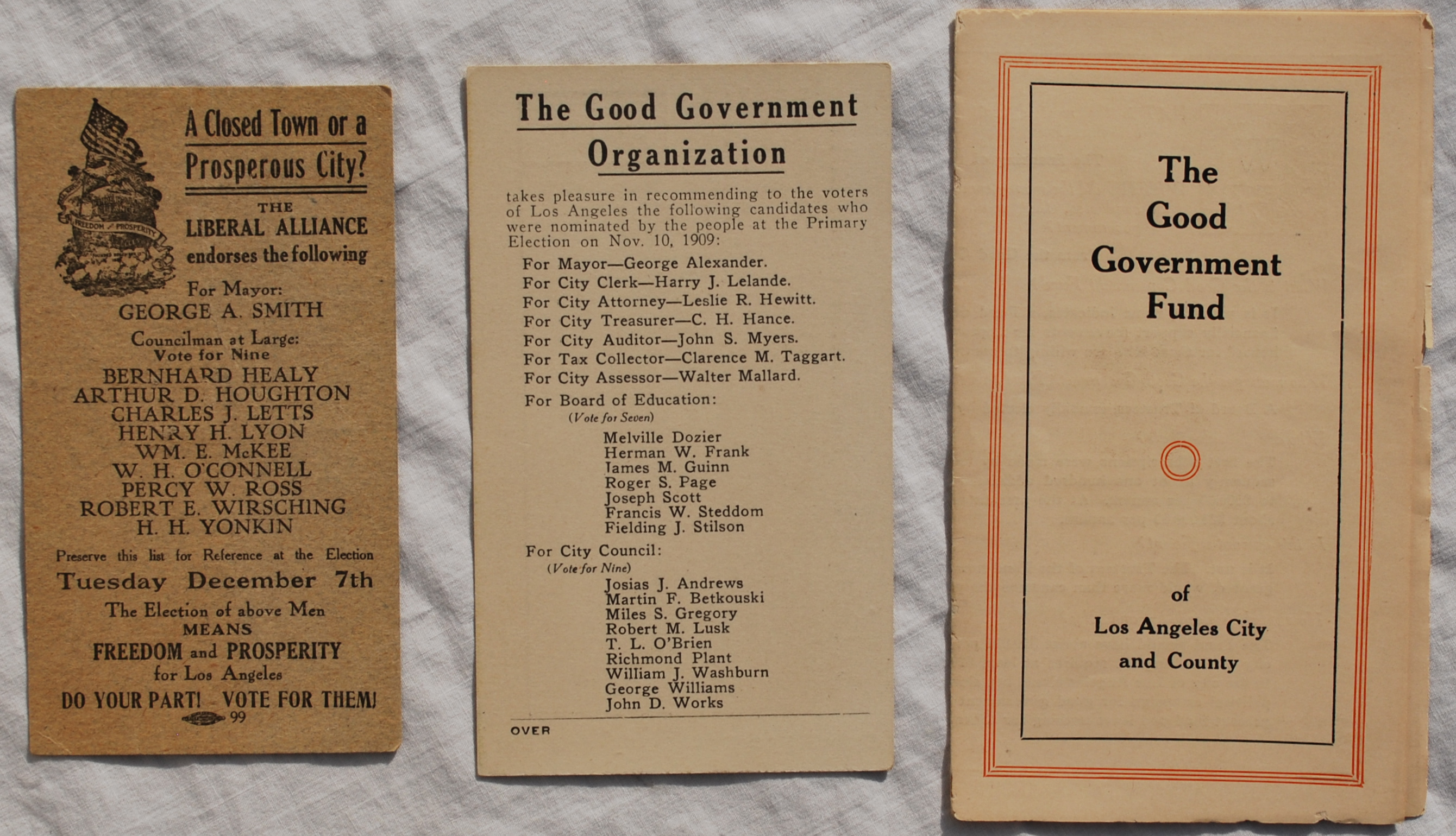 Image for Three Pieces of Los Angeles Political Ephemera, 1909-1911.