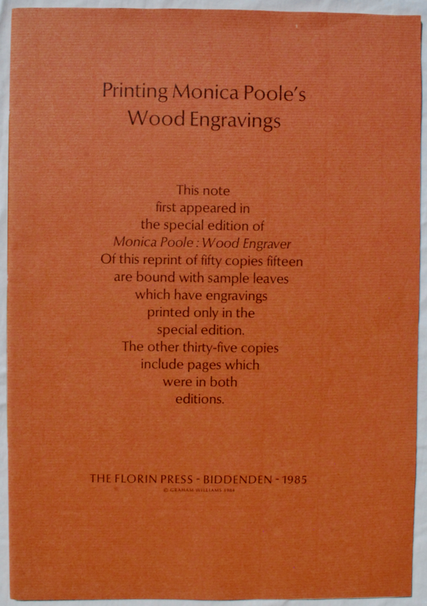 Image for Printing Monica Poole's Wood Engravings [Cover Title]