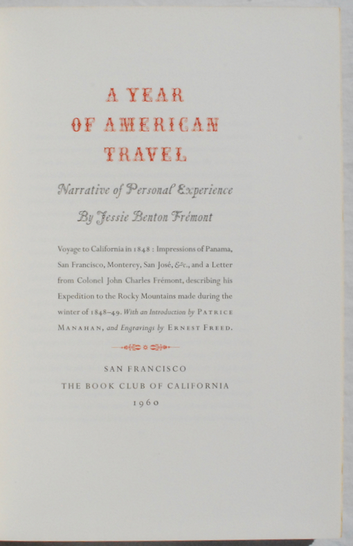 Image for A Year of American Travel: Narrative of Personal Experience by Jessie Benton Fremont.