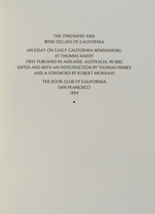 The Vineyards And Wine Cellars Of California An Essay On Early  The Vineyards And Wine Cellars Of California An Essay On Early California  Winemaking By Thomas Hardy First Published In Adelaide Australia In  Essays On Science And Technology also Persuasive Essay Paper  Thesis Essay Topics