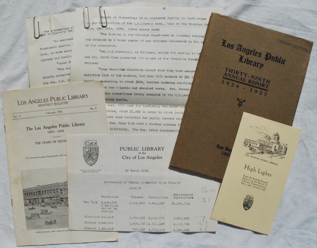 Image for Small Archive of Publications by the Los Angeles Public Library with further research notes gathered by Arthur M. Ellis.