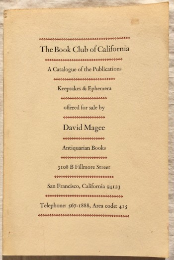Image for The Book Club of California: A Catalogue of the Publications, Keepsakes & Ephemera Offered for Sale by David Magee, Antiquarian Books