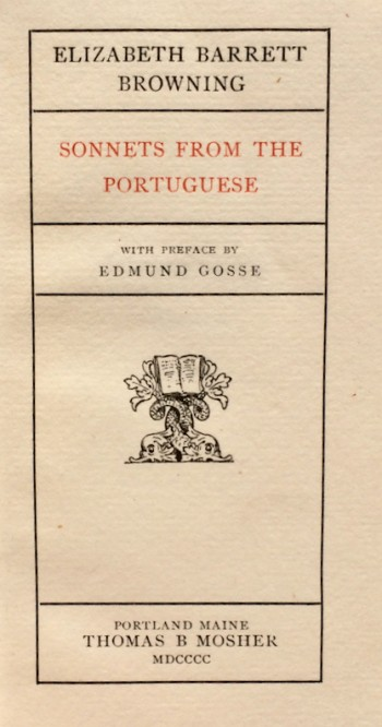 Image for Sonnets from the Portuguese. With Preface by Edmund Gosse