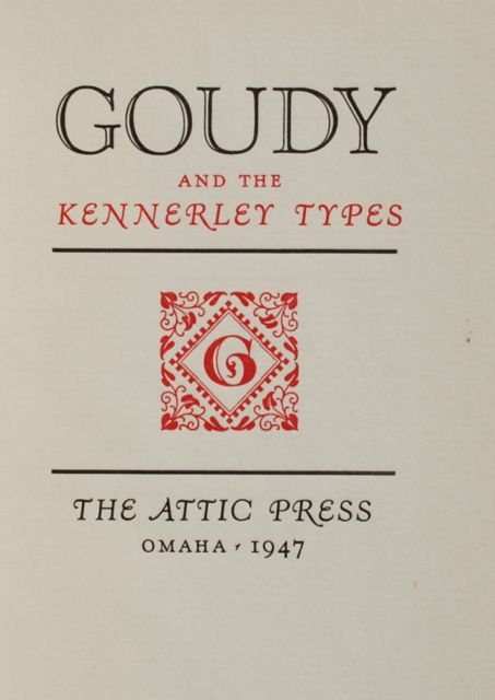 Image for Goudy and the Kennerly Types.