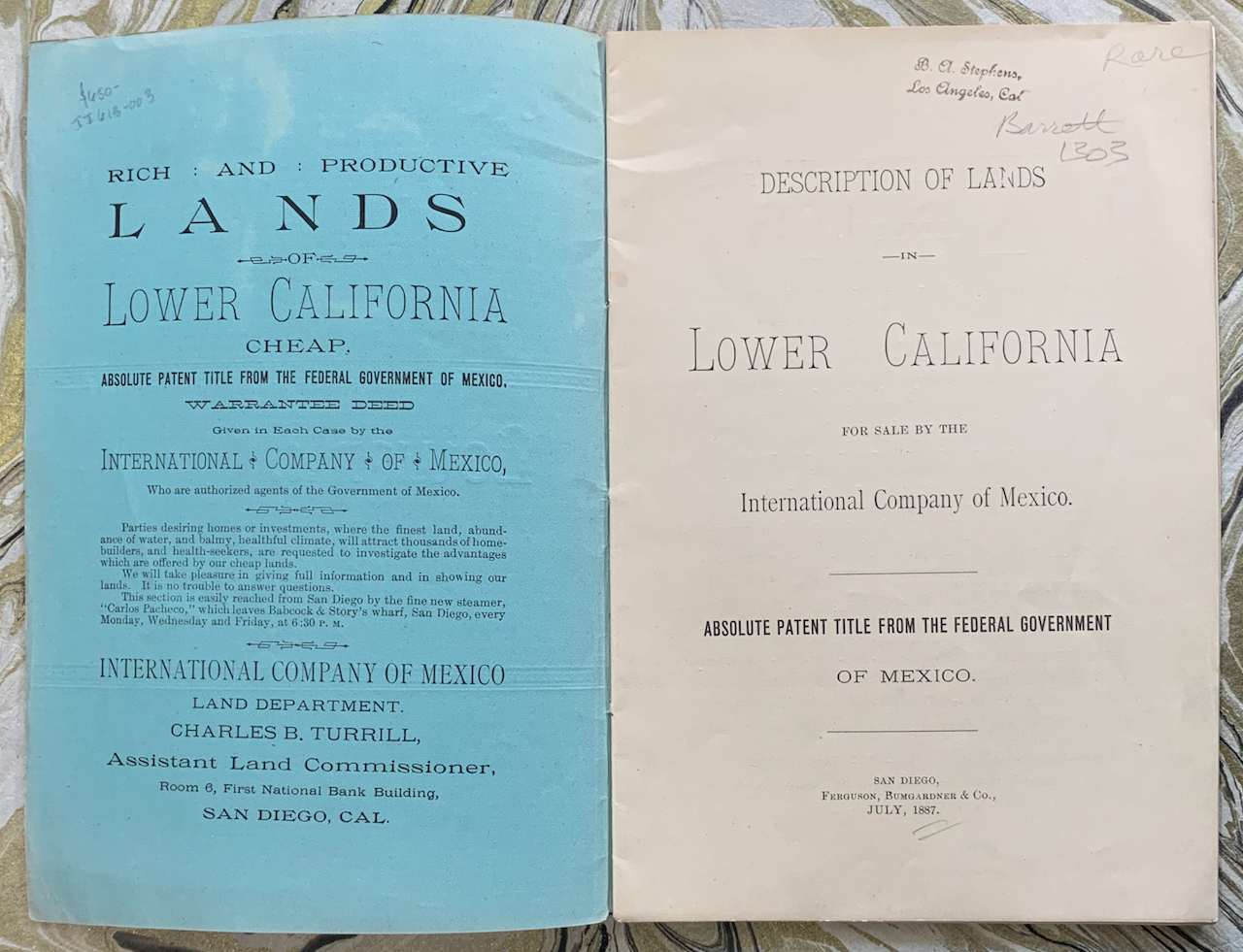 Image for Description of Lands in Lower California for Sale by the International Company of Mexico. Absolute Patent Title from the Federal Government of Mexico