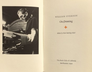 Image for William Everson on Printing