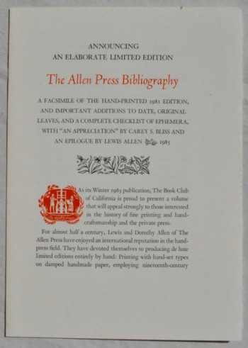 "Image for The Allen Press Bibliography. A Facsimile of the Hand-Printed 1981 Edition, and Important Additions to Date, Original Leaves, and a Complete Checklist of Ephemera, With ""An Appreciation"" by Carey S. Bliss and An Epilogue by Lewis Allen [Prospectus Title]"