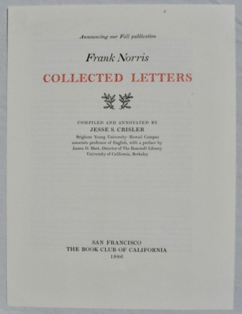 Image for Collected Letters. Compiled and Annotated by Jesse S. Crisler