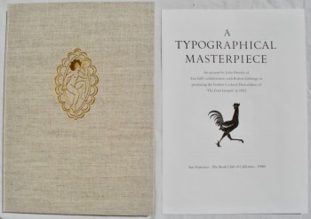 Image for A Typographical Masterpiece. An Account by John Dreyfus of Eric Gill's Collaboration with Robert Gibbings in Producing the Golden Cockerel Press Edition of 'The Four Gospels' in 1931