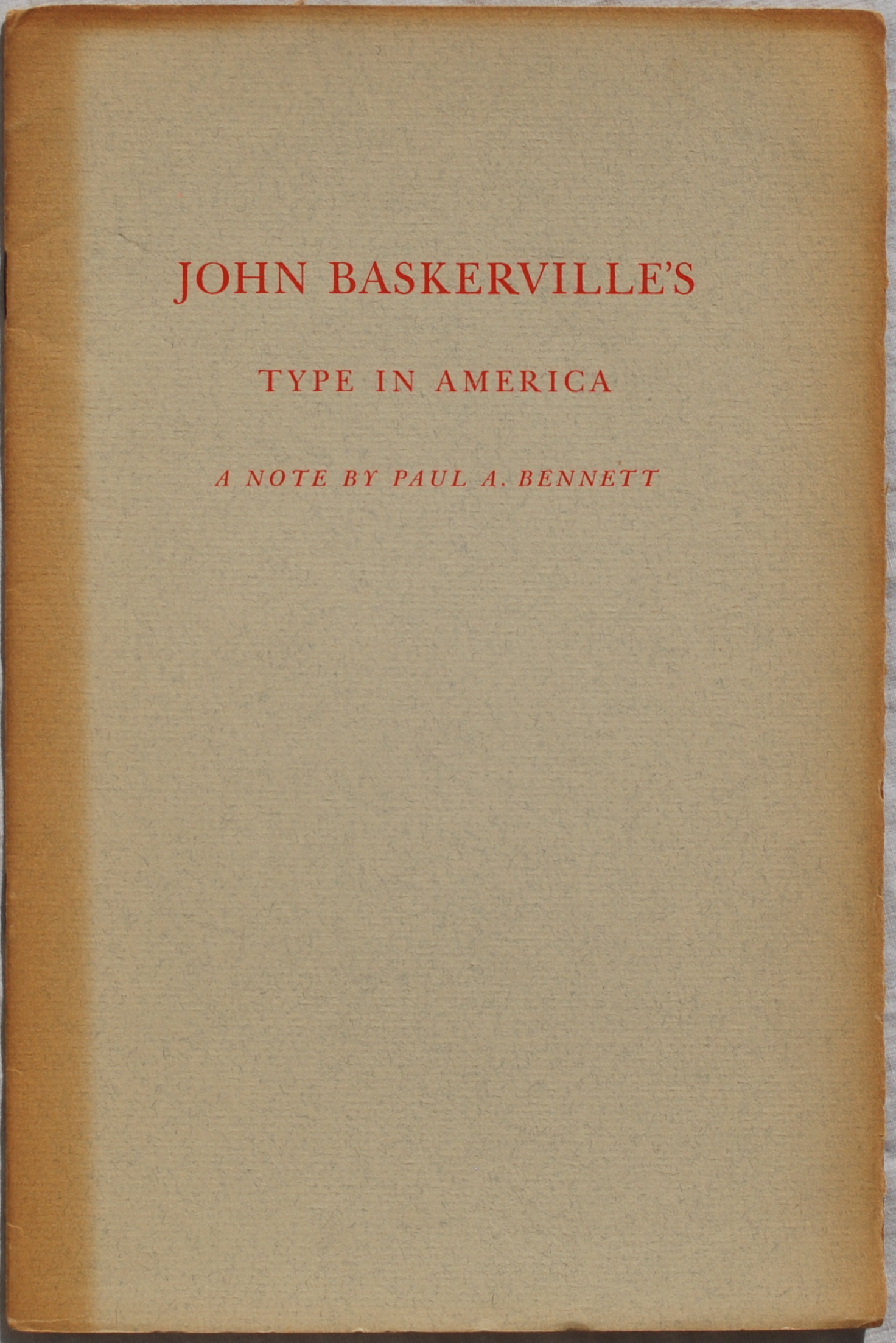 Image for John Baskerville's Type in America: A note by Paul A. Bennett