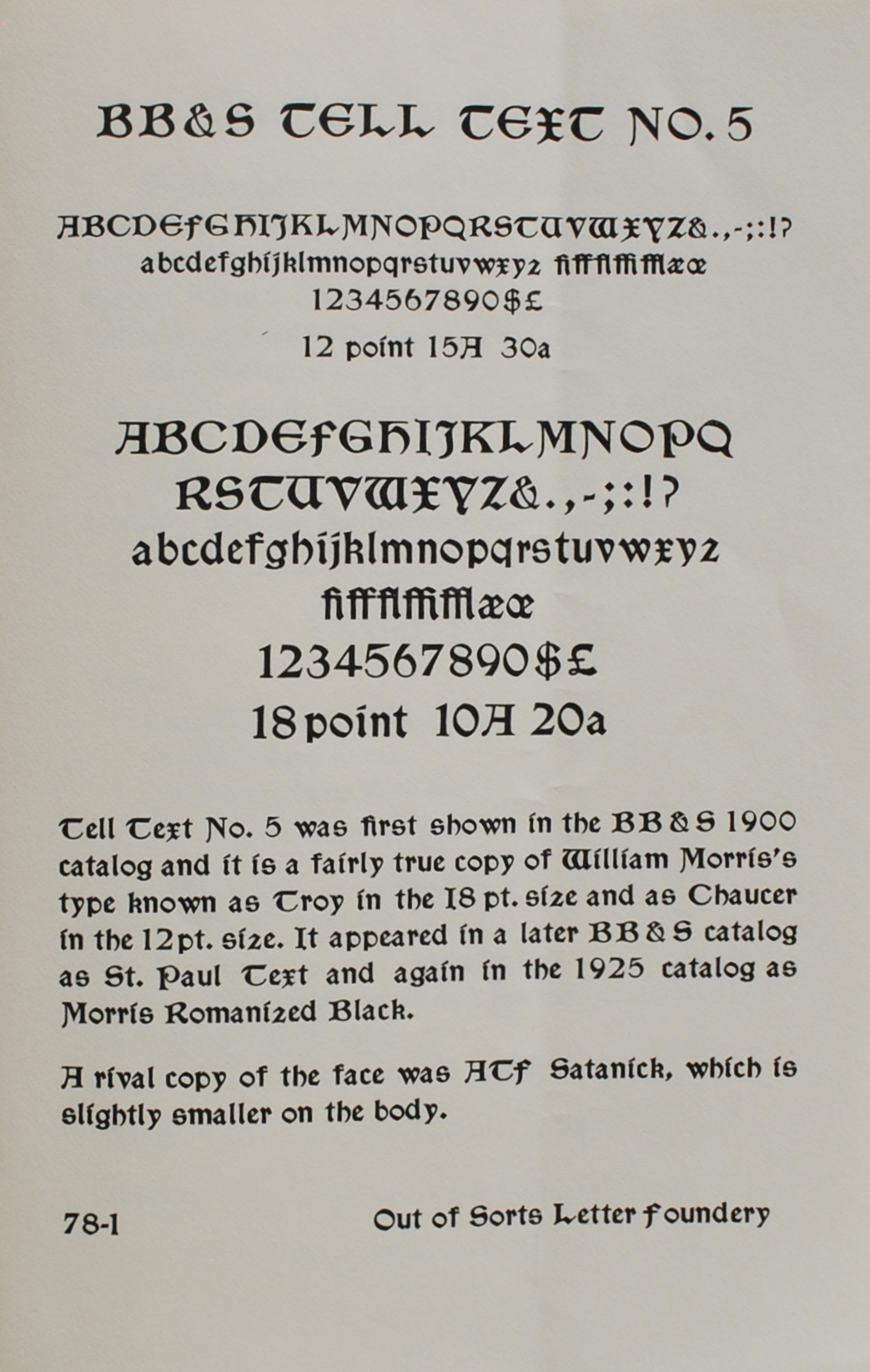 Image for Smithsonian Type Revivals,  BB&S Tell Text No. 5,  Type offerings, cast from the Smithsonian's matrix collection in association with the Out of Sorts Press and Letter Foundery, Larchmont, N. Y.
