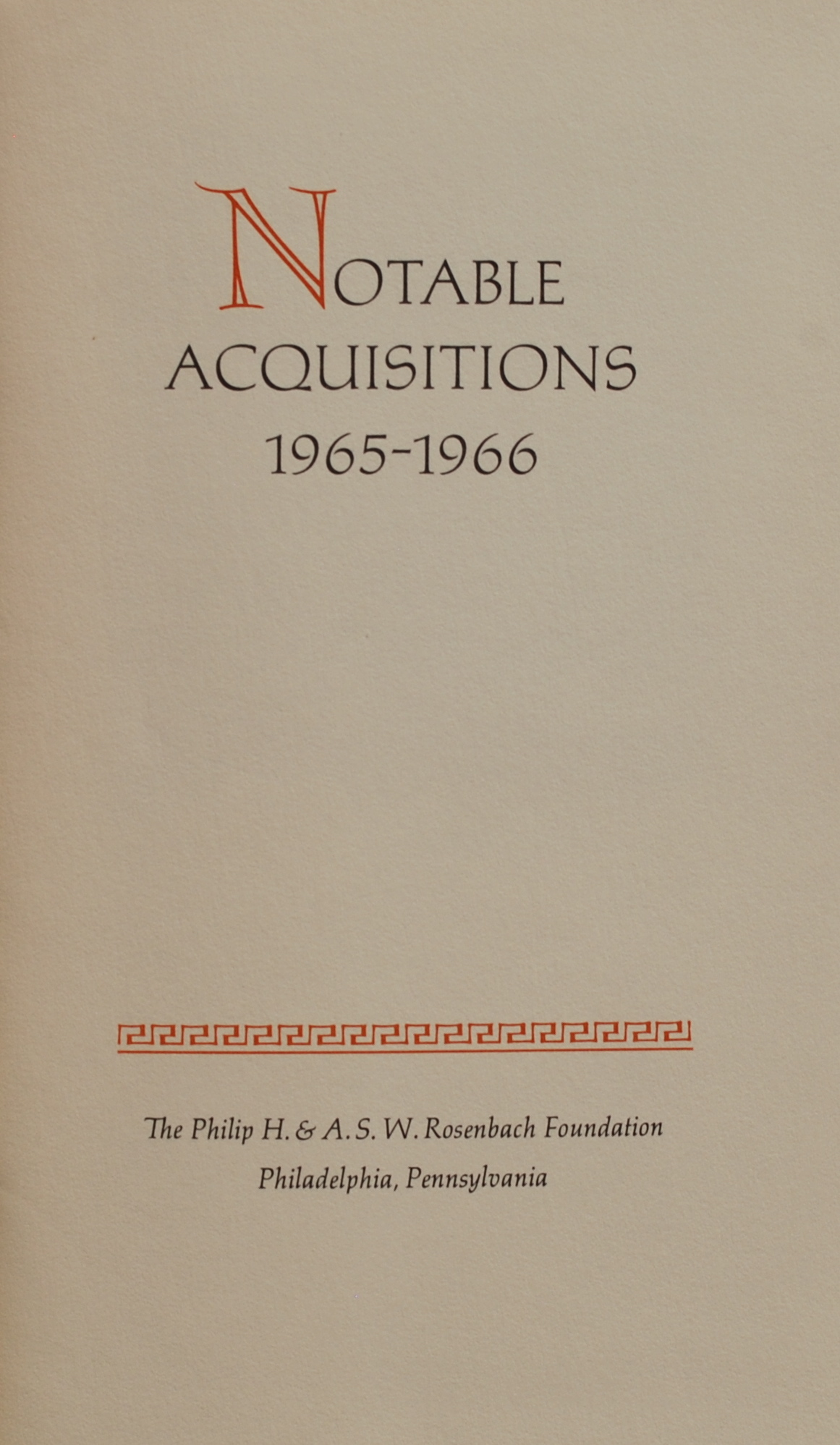 Image for Notable Acquisitions, 1965-1966