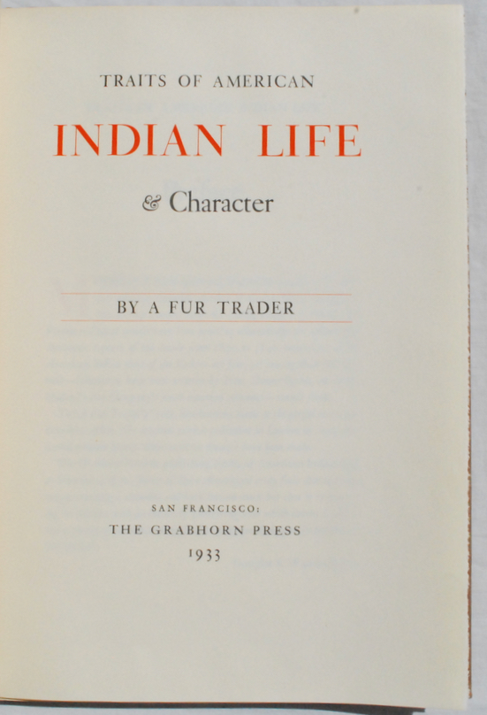 Image for Traits of American Indian Life & Character.