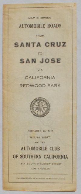 Image for Automobile Routes from Santa Cruz to California Redwood Park and San Jose.