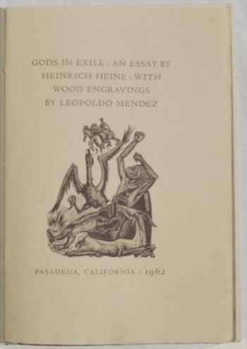 Image for Gods in Exile: An Essay by Heinrich Heine: With Wood Engravings by Leopoldo Mendez.