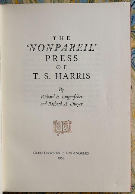 "Image for The ""Nonpareil"" Press of T. S. Harris"