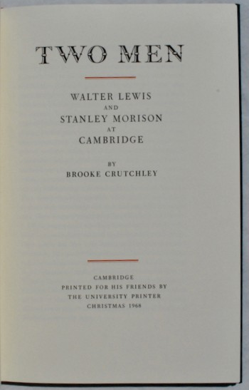 Image for Two Men: Walter Lewis and Stanley Morison at Cambridge