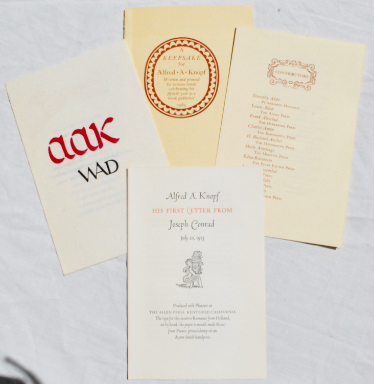 Image for A Keepsake for Alfred A. Knopf, Written and Printed by Various Hands Celebrating his Fiftieth Year as a Book Publisher