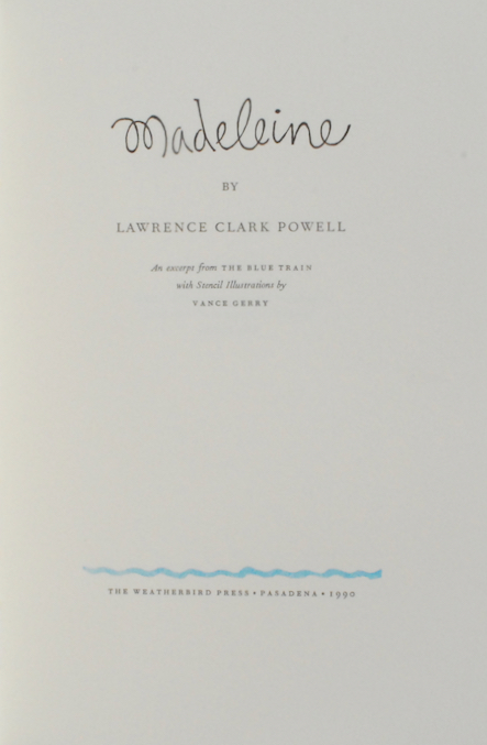Image for Madeleine.  An Excerpt from The Blue Train with Stencil Illustrations by Vance Gerry.