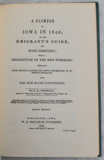 Image for A Glimpse of Iowa in 1846. Reprint